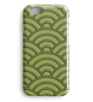 Geometric half-circles waves green I