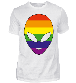 Alien Head Silhouette - Rainbow Flag II