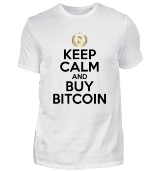 Crypto Fan T-Shirt KEEP CALM AND BUY BITCOIN BTC GOLD