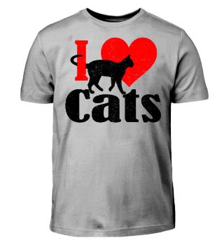 ★ I LOVE CATS grunge black red