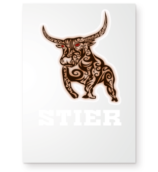 Tribal bull with lettering as a gift
