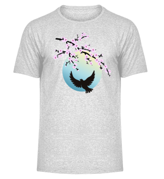 Cherry Blossoms SAKURA Full Moon Bird 1