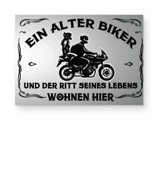 Poster Ein alter Biker und der Ritt