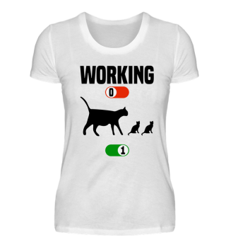 Working Job OFF cute cat ON gift