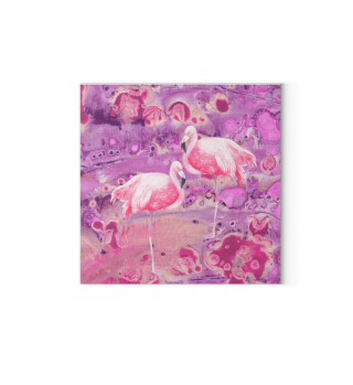 Flamingos Batik Painting In Pink Violet