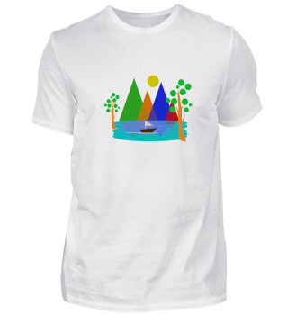 Mountains Lake Trees Boat Gift Nature