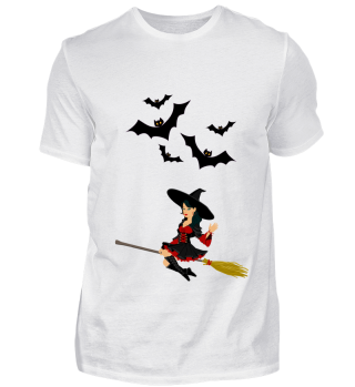 Halloween - Hexe auf Besen, Fledermäuse