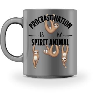 Prokrastination Humor Faultier Tasse