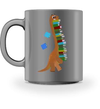 Funny Dinosaurier mit Büchern