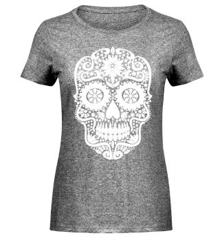 Gothic Stars Sugar Skull - weiss