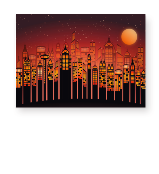 ★ Full Moon In The City - orange I
