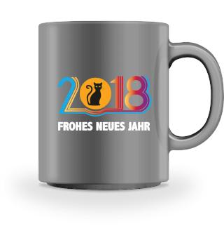2018 Frohes Jahr Katzenshirt
