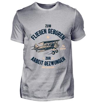 Zum Fliegen geboren Retro Flugzeug Shirt