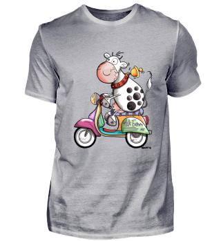 Kuh fährt Roller - Mofa - Geschenk