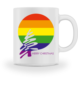 Merry Christmas - stylish LGBT rainbow