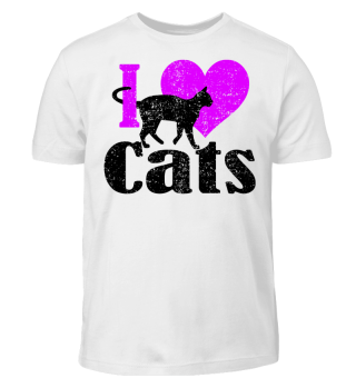 ★ I LOVE CATS grunge black pink