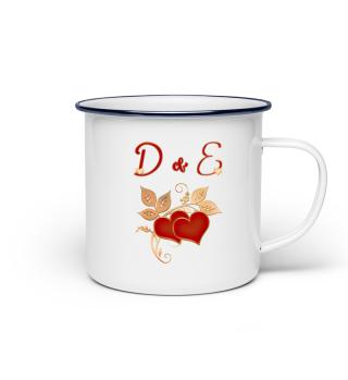 Tasse für Paare Initialen D und E