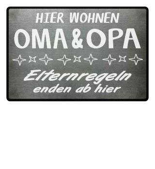 Fußmatte Oma & Opa Elternregeln enden
