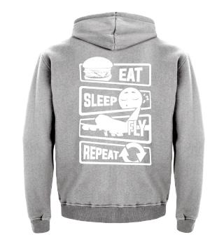 Eat Sleep Fly Repeat - Pilot Plane Sky