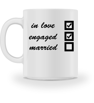 in love, engaged, married