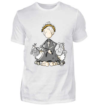Pfarrer mit Schafen