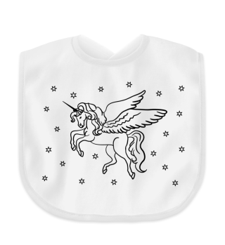 Pegasus Einhorn malen - schwarz Latz