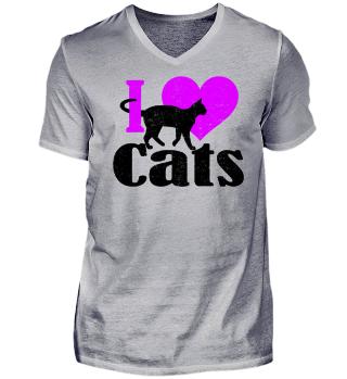 ★ I LOVE CATS grunge black pink