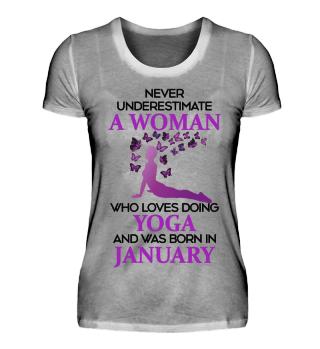 January Woman loving Yoga