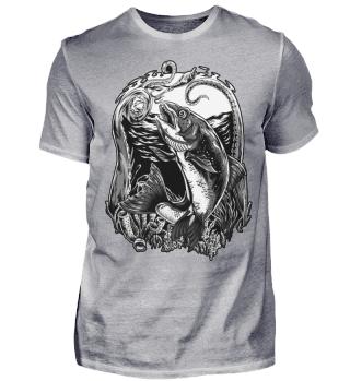 Angeln Angler Forelle schwarz-weiss