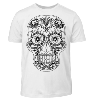 Gothic Flowers Sugar Skull - black