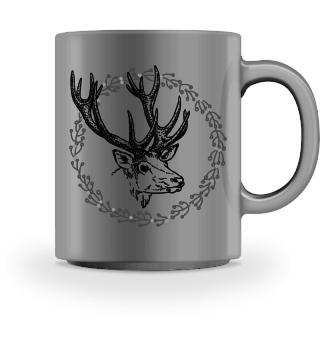 Winter Wreath with Deer - black 1