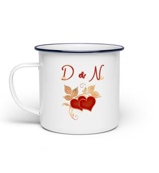 Tasse für Paare Initialen D und N