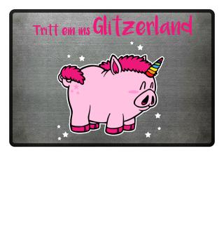 Glitzer Einhorn Schwein