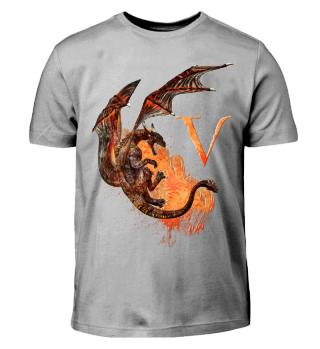 Drachen Buchstabe V (Kinder T-Shirt)