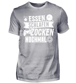 Gamer Gaming Shirt Zocken Schlafen