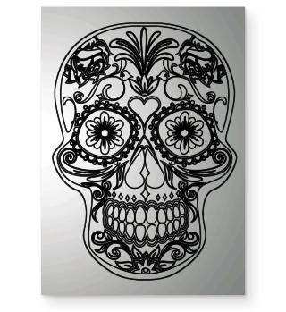 Gothic Flowers Sugar Skull black Poster