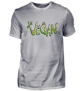 Lustiges Vegan Comic Tiere und Schrift