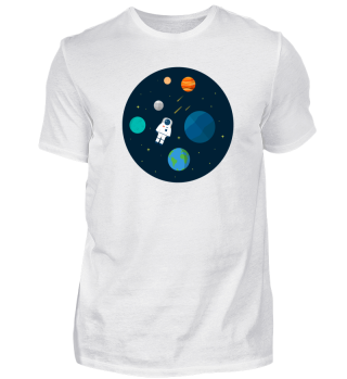 Flat Design Astronaut Cosmic Space Plane