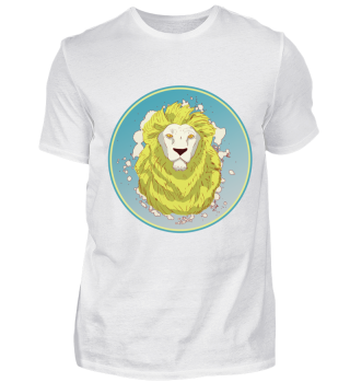 Lion Face White Badge