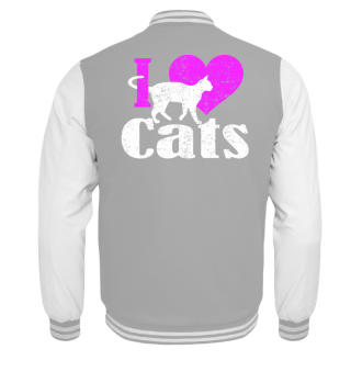★ I LOVE CATS grunge white pink