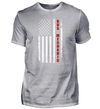 Bus Mechaniker Amerikanische Flagge