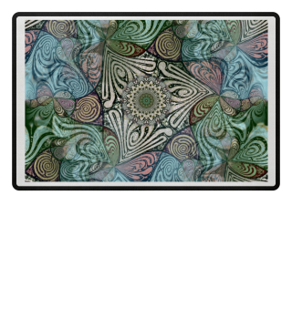 Labyrinth Mandala Blue Green Grey