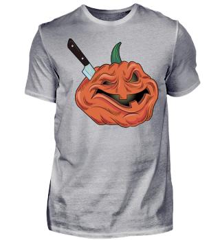 Halloween pumkin with knife