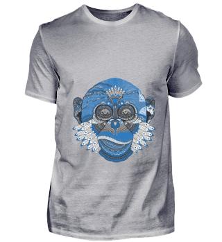 Affe Kunst blau Muster Tier