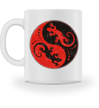 ♥ Yin Yang Geckos - Black Red MUG