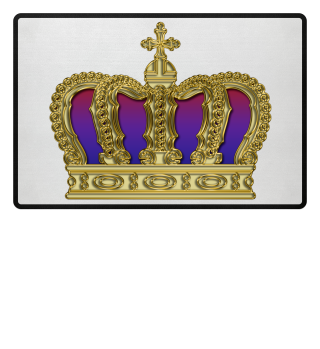 Royal Cross Crown - Gold Red Purple Text