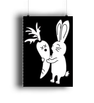 Kaninchen, Hase, Möhre, Geschenk - Poster