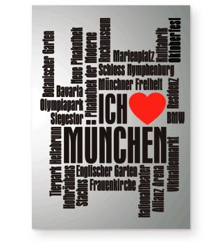 ★ Ich Liebe MÜNCHEN - schwarz Poster