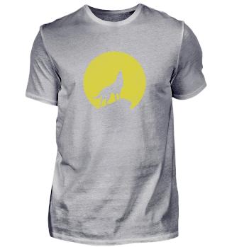 Wolf Mond Vollmond gelb Geschenk