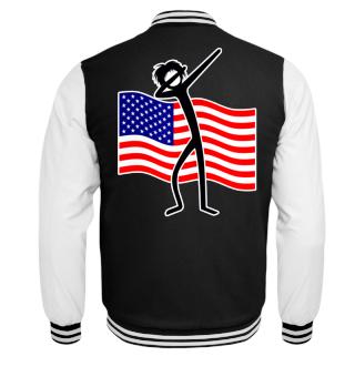 Dabbing Stick Figure - American Flag